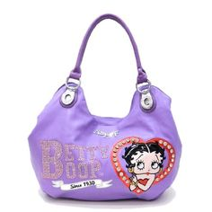 Betty Boop Embroidered Lavender Red Heart Purple Rhinestone Signature Metal Logo Pocket Satchel L Bag Handbag Purse Purses For Sale, Purses And Bags, Purse Sale, Betty Boop Purses, Novelty Bags, Purple Love, Deep Burgundy, Handbags Online, Balenciaga City Bag