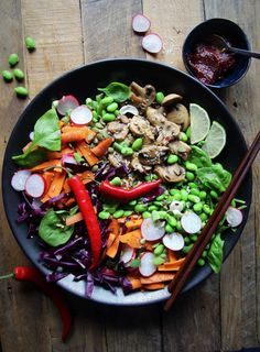 Brown Rice and Edamame Bibimbap Buddha Bowl (Vegan)