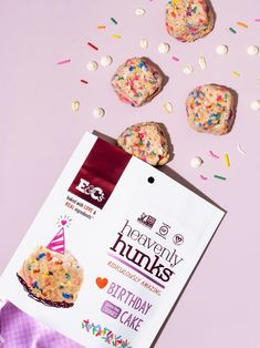 Heavenly Hunks Reviews and Info - Soft, chewy, vegan, and gluten-free cookies. Pictured: Birthday Cake Gluten Free Cookies, Gluten Free Desserts, Dairy Free Recipes, Chocolate Chip Oatmeal, White Chocolate Chips, Birthday Cookies, Birthday Cake, Sorghum Flour, Protein Oatmeal