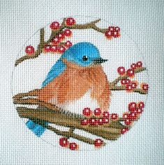 HP Blue Bird needlepoint canvas by colors1 on Etsy