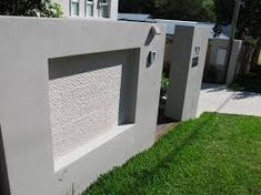 Image result for stone clad boundary wall Gate Wall Design, Front Wall Design, Entrance Design, Fence Design, Flat Roof House, D House, Concrete Fence Wall, Gabion Wall, Rendering Walls