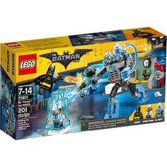 Help Batman™ defend the Gotham City Energy Facility from Mr. Freeze's Exosuit assault and save the security guard from the ice prison in The LEGO® Batman Movie: Mr. Freeze™ Ice Attack set. The set features Mr. Freeze's posable Exosuit with room for a minifigure and a stud-shooting freeze gun, plus a detailed power plant build and an opening ice prison. Includes three minifigures and assorted play-inspiring weapons and accessory elements including Batman's flamethrower.