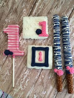 Pink Navy 1st Birthday Party Sweets Table Set Chocolate Number One Lollipops Chocolate Covered Pretzels Graham Crackers Roses by Chasing Pink Fireflies