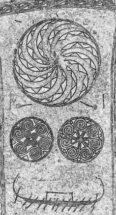 Sun symbols on 6th century Burial Monument, Sweden