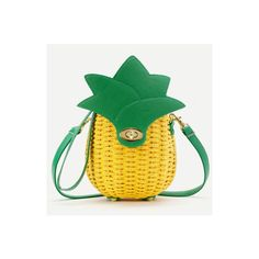 Pineapple Shaped Straw Crossbody Bag (€26) ❤ liked on Polyvore featuring bags, handbags, shoulder bags, yellow, green crossbody purse, straw shoulder bag, yellow purse, straw crossbody and green crossbody