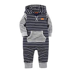 jcp | Carter's® Striped Jumpsuit with Hood - Baby Boys Newborn-24m