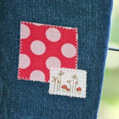 Cute and easy patches. (Would be so great with a coordinating upcycled t-shirt.)