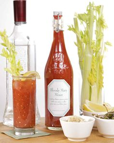 This recipe is from the 2006 Martha Stewart Handmade Holidays magazine, and is used to make delicious Bloody Mary cocktails. For each drink, combine 3 ounces of mixer with 1 ounce of vodka, and pour into a glass filled with ice. Download the Bloody Mary Mix Tag. Get more great ideas for Handmade Holiday gifts.