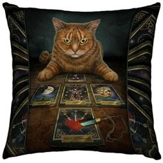 Lisa Parker Cushion, The Reader Gothic Tarot Cat Cushion