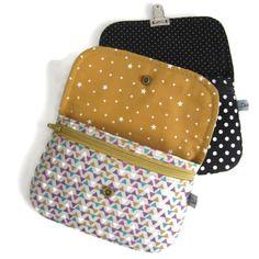 Porte monnaie, pochette, motifs géométriques mauve et moutarde, fermeture pression, porte carte, étui portable