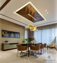 A Deluxe Lodging - Apartment Interiors Amazing interiors - The Architects Diary Living Design, Dining Room Ceiling, Home Ceiling, Living Room Designs, Dining Room Design, Bedroom False Ceiling Design, Apartment Interior, House Interior Decor, Ceiling Design Living Room