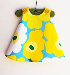 Marimekko Dress - Birthday - Yellow and White -  Infant Dress - Baby Shower - Speical Occasions - Handmade Childrens Fashion - 12M ONLY