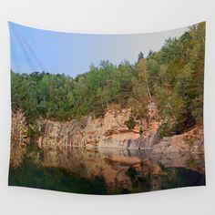 Granite rocks at the natural lake Wall Tapestries, Tapestry, Quarry Lake, Granite, Rocks, Natural, Photography, Products, Wall Hangings