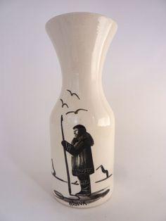Vintage NA Pottery Vase Bering Sea Originals Alaska Native American Signed Armuk Eskimo Harpoon Glacier Birds Black White Carafe/ Vase by BonniesVintageAttic on Etsy