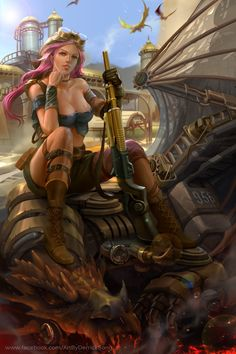 Steampunk female warrior by Derrick Song Fantasy Art Village Social Network for Fantasy, Pinup, and Erotic Art Lovers! 3d Fantasy, Fantasy Women, Fantasy Girl, Fantasy Images, Cyberpunk, Style Steampunk, Steampunk Fashion, Steampunk Female, Steampunk Fairy
