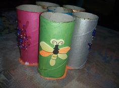 Paper rolls painted .