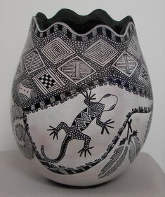 Gourd with White Ink, Zentangle and Sharpie Marker