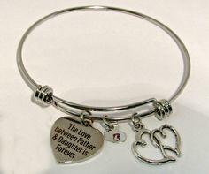 Father Daughter Bangle Bracelet, Stainless Steel Bangle Bracelet,Sale, Personalized Bracelet, Charm Bracelet, Heart, Adjustable Bangle by ArtistryJewels on Etsy