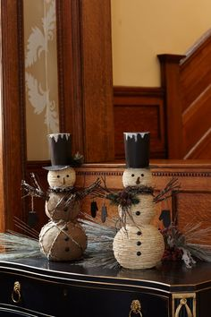 Woven snowmen-these are so cute!