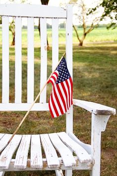americana. american. flag. weathered rocker. red. white. blue.