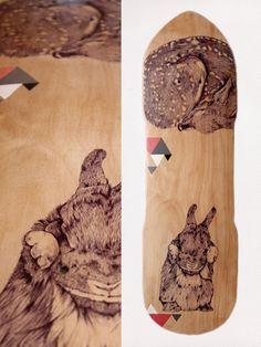 Skateboard recyclé fawn and rabbit par Cheyenneillustration sur Etsy, €220,00