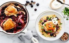 Shop local groceries for delivery in the San Francisco Bay Area. Chicken thighs get a totally fresh take with roasted grapes as part of this one-pan dinner. The tagine-inspired seasoning includes green olives and preserved Almond Yogurt, One Pan Dinner, Toasted Almonds, Shop Local, Large Bowl, Weeknight Dinners, Egg Recipes, Chicken Thighs, Couscous