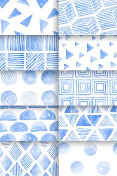 Download premium vector of Indigo blue watercolor geometric seamless