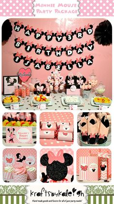 Minnie Mouse; Minnie Mouse Birthday; Minnie Mouse Birthday Party; Disney Minnie Mouse Birthday Party Package Personalized