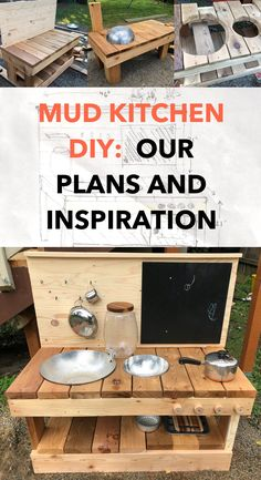 Deciding between a play kitchen and a mud kitchen plans? Here's our DIY mud kitchen, inspiration, supplies list and tools. Diy Mud Kitchen, Mud Kitchen For Kids, Kitchen Tools, Outdoor Play Kitchen, Kitchen Supplies, Ikea Outdoor, Outdoor Crafts, Outdoor Toys, Outdoor Stuff
