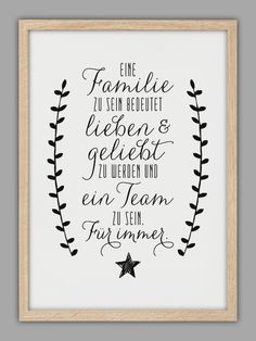 "Typo Kunstdruck ""Familie"" // typo artprint ""family"", wise words by Smart Art Kun. Family Poster, Family Print, Smart Art, We Are Family, More Than Words, True Words, Family Quotes, Cool Words, Hand Lettering"