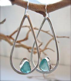 Aqua Blue Abyss Genuine Sea Glass Jewelry Earrings Bezel Set in