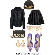 A fashion look from February 2015 featuring Balmain mini skirts, DNA and Moschino pumps. Browse and shop related looks.
