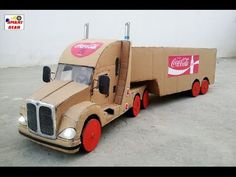 How to Make a Coca-Cola Truck with DC motor - Awesome Coca-Cola Truck Cardboard Toys, Paper Toys, Wooden Toys, Coca Cola, Optimus Prime, Luxury Bus, Lead Acid Battery, Toy Trucks, Crafts For Kids