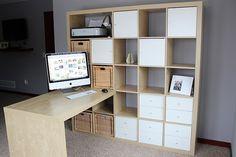 my bedroom office: IKEA expedit shelf + desk