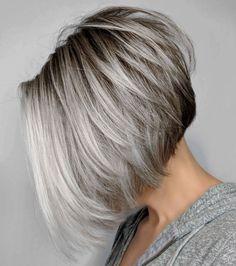 Inverted layered gray bob with brown roots gray balayage, balayage bob, sho Grey Bob Hairstyles, Short Bob Haircuts, Female Hairstyles, Trendy Haircuts, Layered Haircuts, Medium Hairstyles, Braided Hairstyles, Wedding Hairstyles, Short Grey Hair