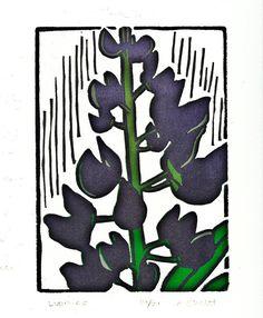 Linocut Print of Lupine Flower Closeup  Lupines by MakePrint, $30.00