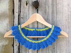 Crochet blue yellow necklace  detachable Peter pan by Chompa, $45.00