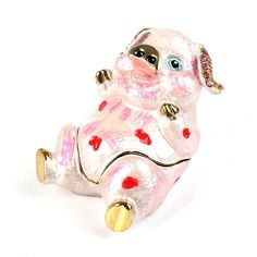 """""""Belly-Up #Piggy #Funny Keepsake Box Item No. KB00468A01 $23.09 This belly-up pig sure seems to be having fun! This pink piggy #trinketbox is made from a pewter base, and was hand enameled and gold plated. Approximately 2 1/2"""" long x 1 3/4"""" wide x 2"""" tall in size, this delightful #farm animal would be a cute way to store jewelry or other tiny things."""" Golden Frog, Ribbon Box, Jewel Box, Horse Head, Keepsake Boxes, Trinket Boxes, Small Gifts, Farm Animals, Piggy Bank"""