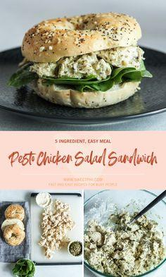 Chicken Pesto Sandwich, Pesto Chicken Salads, Chicken Salad Recipes, Salmon Recipes, Lunch Recipes, Pesto Salad, Salad Sandwich, Dinner Recipes, Bagel Toppings