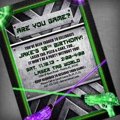 Laser Tag Party Customized Printable Invitation by CheBellaCarta, $13.95