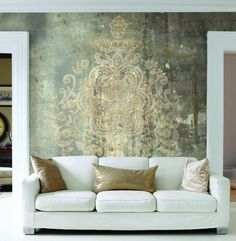 Last hit in wallpaper 😍 Decor, Textured Walls, Accent Wall, Wall Treatments, Home Decor, Wall Painting, Wall Design, Wall Deco, Decorative Painting