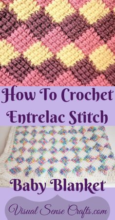 How To Crochet Entrelac Stitch With Video Tutorial - Visual Sense Crafts - - This is a video and photo tutorial of how to do Tunisian Entrelac stitch and make a baby blanket. This is a very relaxing stitch to do once you learn it. Crochet Afghans, Tunisian Crochet Blanket, Crochet Stitches For Blankets, Tunisian Crochet Patterns, Baby Blanket Crochet, Knit Stitches, Crochet Granny, Knitting Patterns, Crochet Crafts