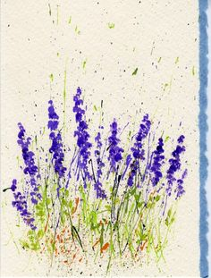 Splattered Paint Lavender Flowers Card-myflowerjournal.om