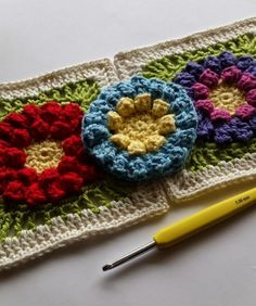 Spincushions: Flowers Abound CAL 2015 By Shelley Husband.  Part 3 – Hana. Free crochet flower square pattern in Uk or US terms.