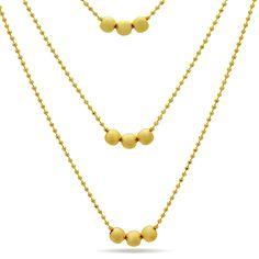 Three Tiny Ball Layered Necklace, 14K Gold Plated Elegant Minimalist Triple Necklace