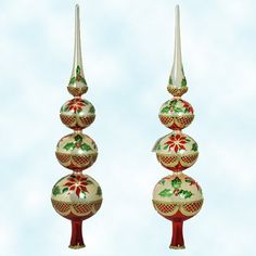 Christopher Radko Christmas Ornaments, Point n' Lace Finial, 2003, 1013895, Holly, poinsettia, red, gold, pearl, tree topper, Mint With Tag