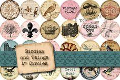Printable Birdies And Things Inchie Circles - Digital Collage Sheet