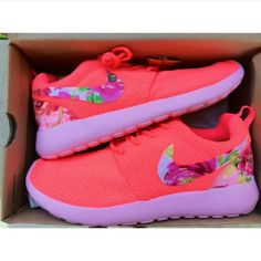 Roshes run Floral roshes Nike Shoes Athletic Shoes