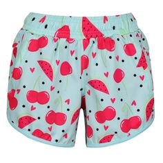 Our Fruit Salad Loose Fit Workout Shorts offer an airy look and feel for the warmer months. Sweet and moreish, the light blue base is overlaid with a bright watermelon and cherry print.  Made from breathable Polyester micro fabric, these shorts are soft and lightweight - perfect to take on holiday or throw on for a morning run. Ditch underwear thanks to anti-chafe internal knickers and adjust the waist to suit. You'll also find handy zipped side pockets for a large phone or energy bars. Anti Chafing, Morning Running, Energy Bars, Workout Shorts, Fruit Salad, Loose Fit, Watermelon, Light Blue, Cherry