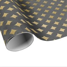 Gray Gold Grungy Diamond Cut Art Deco Graphite Wrapping Paper - craft supplies diy custom design supply special